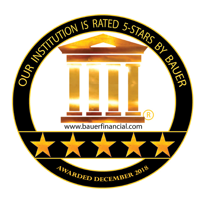Our institution is rated five stars by Bauer Financial.